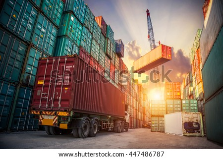 Business Logistics concept, map global partner connection of Container Cargo freight ship for Logistic Import Export background - stock photo