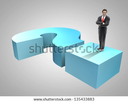 Business man above interrogation sign, 3d render - stock photo