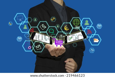 business man and connection of technology on world. - stock photo