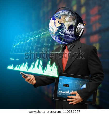 Business man and graph report : Elements of this image furnished by NASA - stock photo