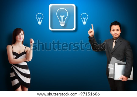 Business man and his secretary got idea - stock photo