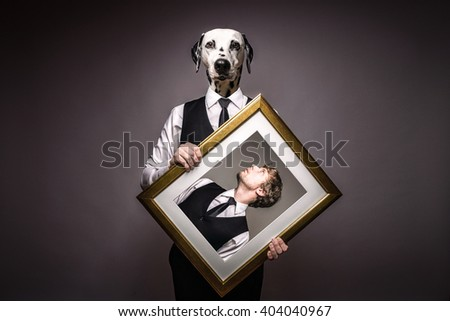 Business Man And Human Dog In Black Suit - stock photo