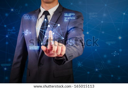 business man and network connection concept - stock photo