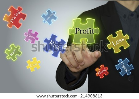 business man and text profit as a concept. - stock photo