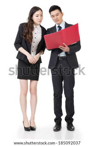Business man and woman discuss, full length portrait isolated on white background. - stock photo