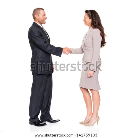 Business man and woman in front of white background - stock photo
