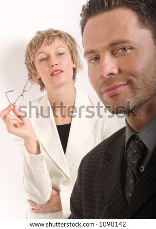 Business man and woman portrait, close up - stock photo