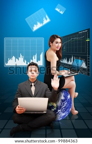 Business man and woman present the stock exchange graph report : Elements of this image furnished by NASA - stock photo