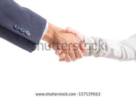 business man and woman shaking hand isolated - stock photo