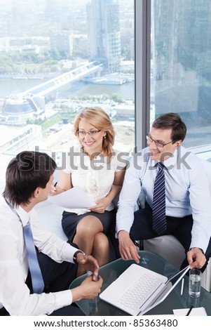 Business man at the interview - stock photo