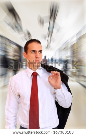 Business man at the office lobby - stock photo