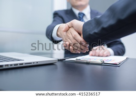 Business Man. Business handshake and business people. handshake Business concept.  Shake hands in office.  - stock photo