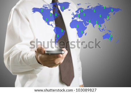 Business man checking income money in dollar sign by using smart phone - stock photo