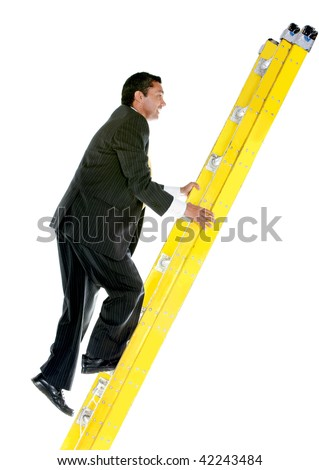 Business man climbing a ladder isolated over a white background - stock photo
