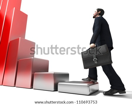 Business man climbs up to the top of 3D success stairs steps - stock photo