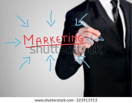 Business man close-up write Marketing word - stock photo