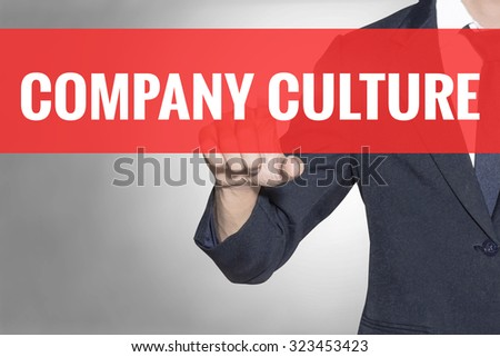 Business man Company Culture word touching on red tab virtual screen for business concept - stock photo