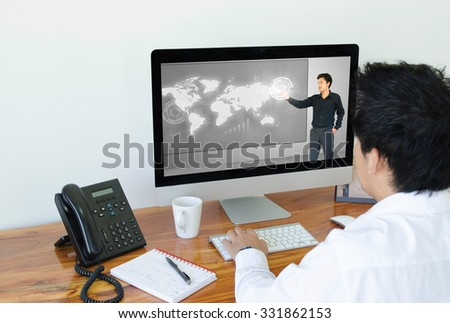 Business man conference business on computer. - stock photo