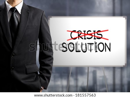 Business man cross crisis and find solution, Concept of Success - stock photo