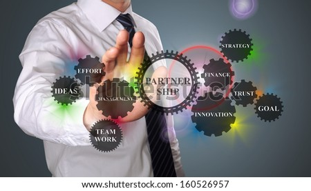 business man demonstrates the concept of  successful partnership based on gear wheels - stock photo