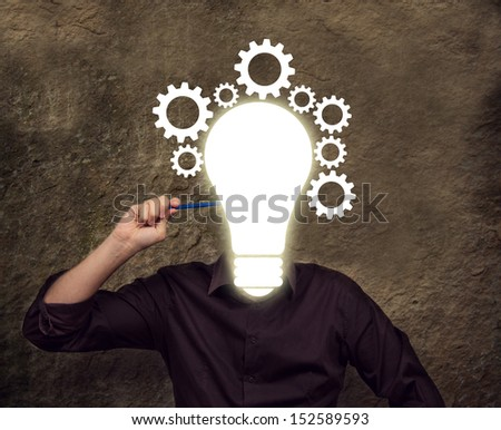Business man developing ideas for his success - stock photo