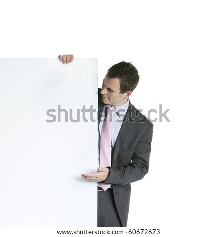 business man displaying a banner add isolated over a white background - stock photo