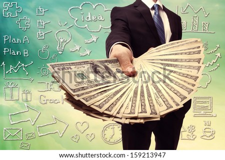 Business Man Displaying a Spread of Cash over Hand Drawing Cartoon Illustration - stock photo