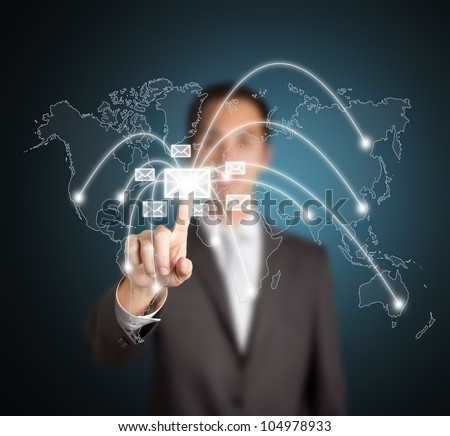 business man distribute digital mail - stock photo