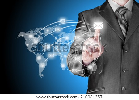 business man distribute digital mail - stock photo