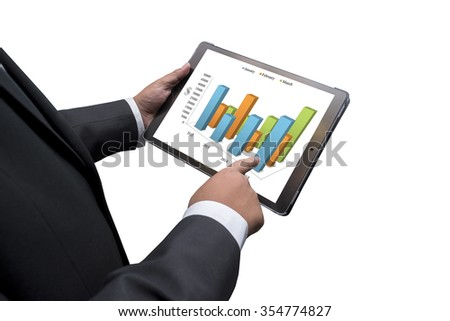 Business man doing business on the screen of a touch-pad - stock photo