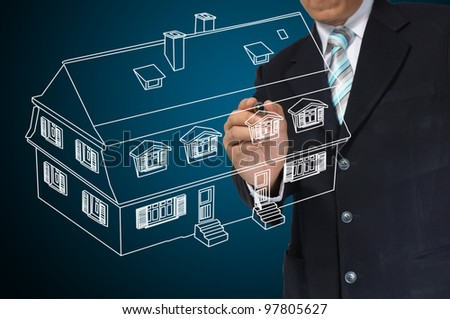 Business Man Draw House on Real Estate concept - stock photo