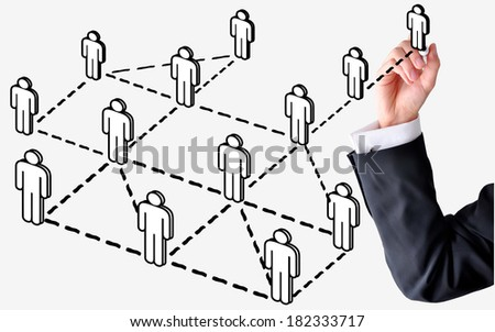 business man draw social network on white board - stock photo