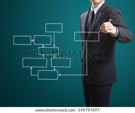 Business man drawing a block diagram - stock photo