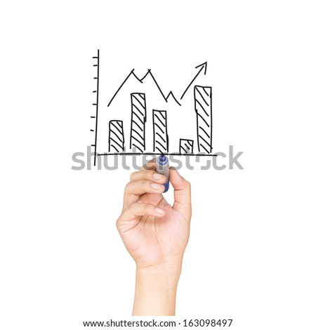 Business man drawing a graph - stock photo