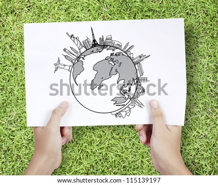 Business man drawing a World - stock photo