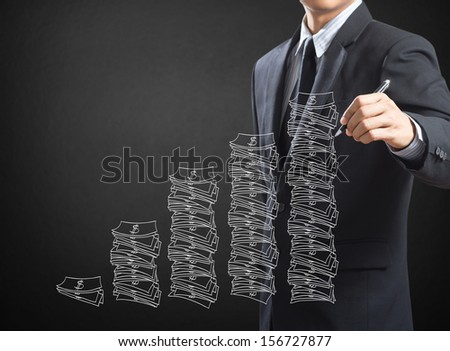 Business man drawing idea is money concept - stock photo