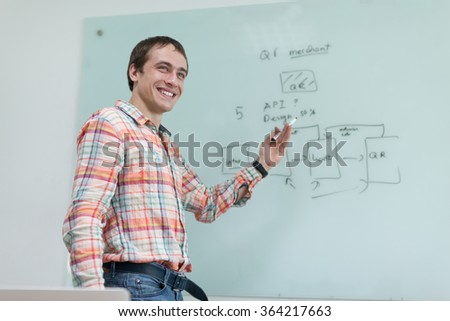 Business man drawing office white board marker mobile application development plan sketch - stock photo