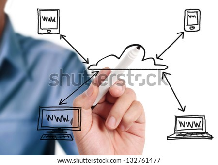 Business man drawing social network - stock photo