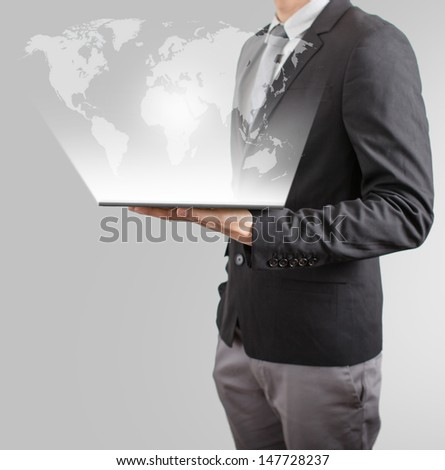 business man drawing social network or business connection with world map on white board - stock photo