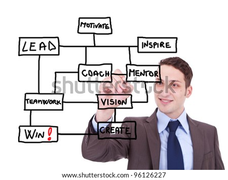 Business man draws a scheme for winners on white background - stock photo