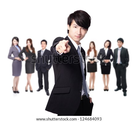 business man finger pointing at you, leading a business team group isolated on white background, asian model - stock photo