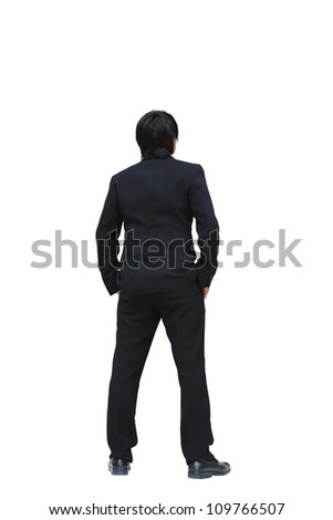 business man from the back looking at something, Isolated on white - stock photo