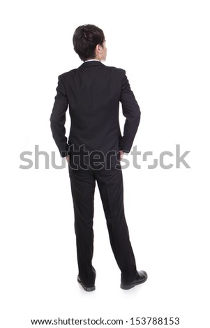 business man from the back - looking at something isolated over a white background, asian male - stock photo