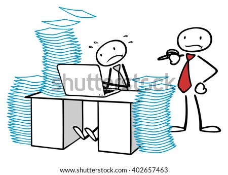 Business man getting burnout in office at desk from too much work - stock photo