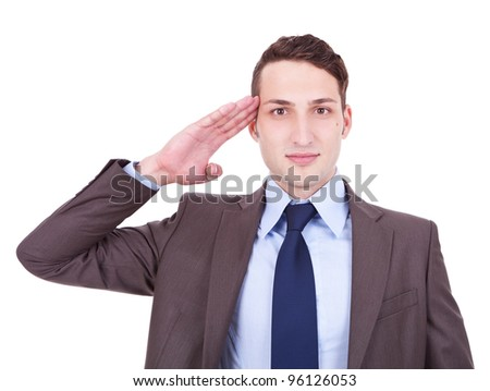 Business man gives salute isolated on white background . military businessman saluting - stock photo