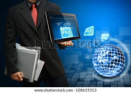 Business man got data file from digital world : Elements of this image furnished by NASA - stock photo