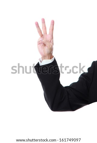 Business man hand counting one on a white background - stock photo