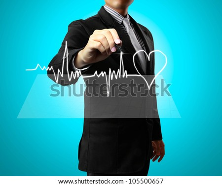 Business man Hand drawing health,heart - stock photo