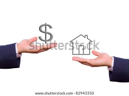 business man hand exchange dollar sign and house icon - stock photo