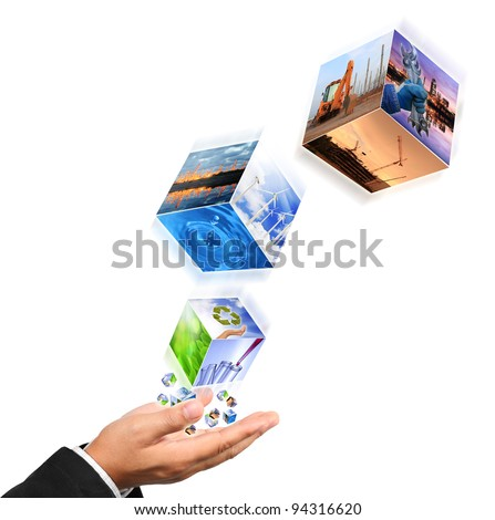 Business man hand holding with recycle symbol image , industry image and buildings image isolated on white - stock photo